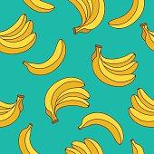 Seamless vector pattern of yellow bananas