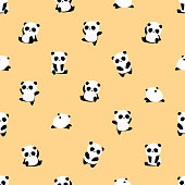 Seamless Vector Pattern: panda bear pattern on yellow background. Small pandas with different gestures.