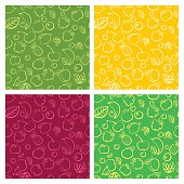Seamless vector pattern set with colorful doodle juicy fruits