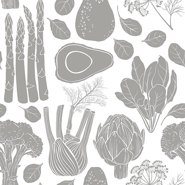 Seamless vector pattern  silhouettes of vegetables. Monochrome  vector illustration. Food art background with green vegetables. avocado silhouettes stock illustrations