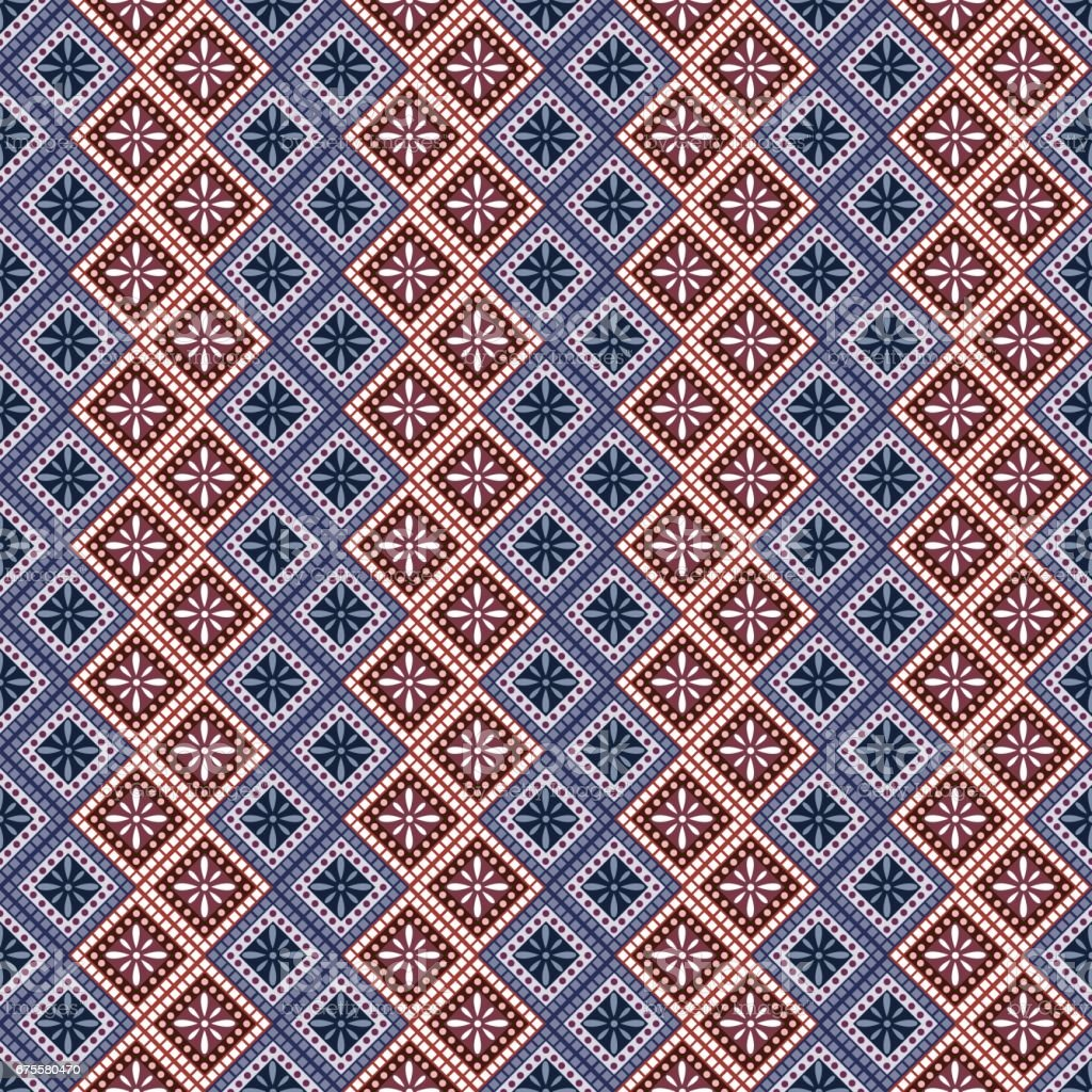 Seamless vector pattern. Symmetrical geometric abstract background with rhombus in blue and red colors. Decorative repeating ornament. Series of Geometric,Ornamental Pattern seamless vector pattern symmetrical geometric abstract background with rhombus in blue and red colors decorative repeating ornament series of geometricornamental pattern - arte vetorial de stock e mais imagens de abstrato royalty-free