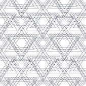 Seamless vector pattern. Symmetrical geometric background with blue triangles in the shape of stars . Decorative repeating ornament.