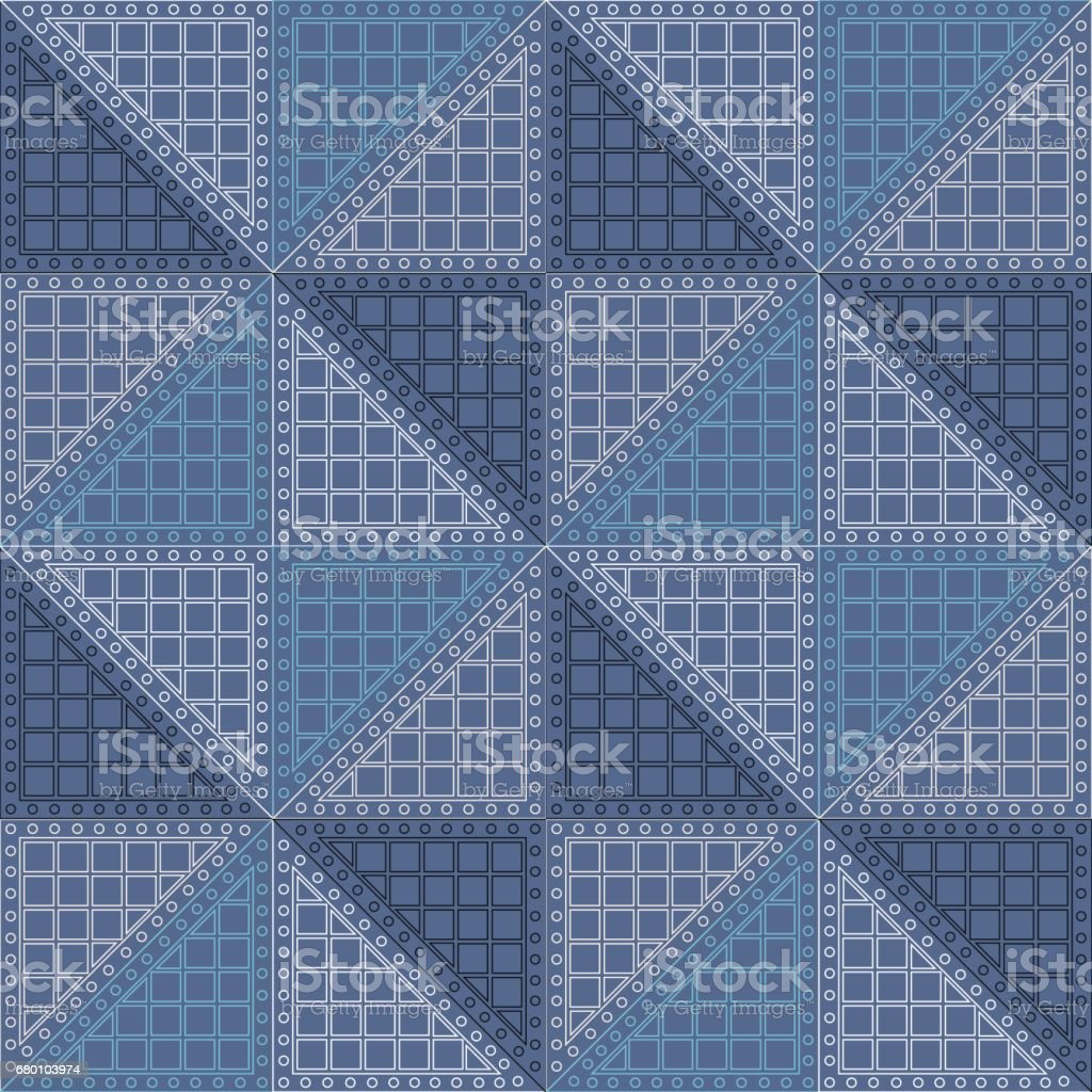 Seamless vector pattern. Symmetrical geometric background with blue rhombus. Decorative repeating ornament.