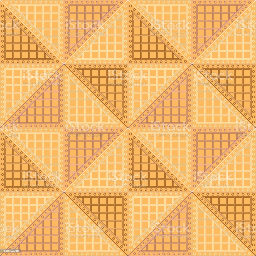 Seamless vector pattern. Symmetrical geometric background with orange rhombus. Decorative repeating ornament.