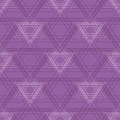 Seamless vector pattern. Symmetrical geometric background with violet triangles in the shape of stars . Decorative repeating ornament.