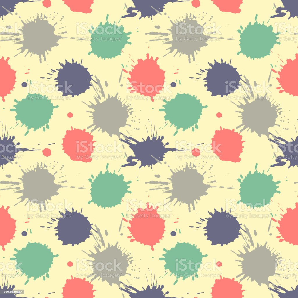 Seamless vector pattern, tile with inc splash, blots, smudge and brush strokes. Grunge endless template for web background, prints, wallpaper, surface, wrapping, repeat elements for design.