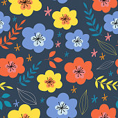 Seamless vector pattern. Trendy floral pattern.Floral pattern with simple flowers.For textiles, Wallpaper, fabric, wrapping paper.