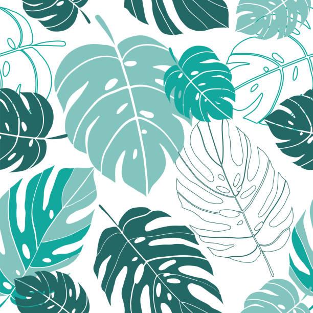 無縫向量樣式熱帶怪物葉子背景 - 葉狀花紋 幅插畫檔、美工圖案、卡通及圖標