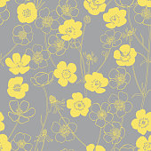 Contours and silhouettes of flowers on gray. Floral endless background. Hand-drawn spring vector illustration.