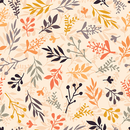 Seamless vector pattern with abstract leaves orange, gold, purple, gray on a beige background. Leaf texture, endless background. For wallpaper, pattern fills, web banners, surface design, Thanksgiving