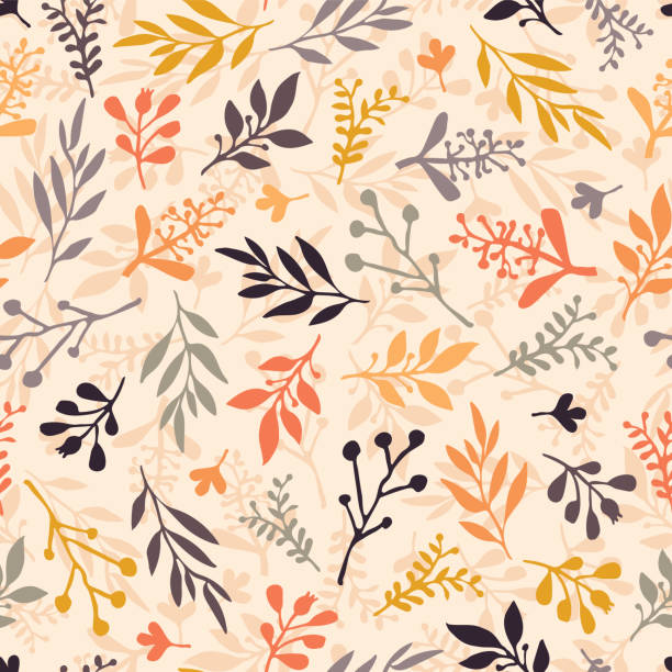 Seamless vector pattern with abstract leaves orange, gold, purple, gray on a beige background. Leaf texture, endless background. For wallpaper, pattern fills, web banners, surface design, Thanksgiving Seamless vector pattern with abstract leaves orange, gold, purple, gray on a beige background. Leaf texture, endless background. For wallpaper, pattern fills, web banners, surface design, Thanksgiving fall background stock illustrations