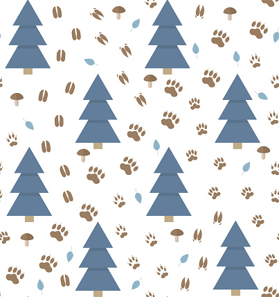 Seamless vector pattern with animal footprint tracks and fir tree on a white background.