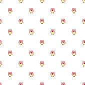 Seamless vector pattern with animals. Cute background with pink pigs on the white backdrop. Series of Animals and Insects Seamless Pattern.