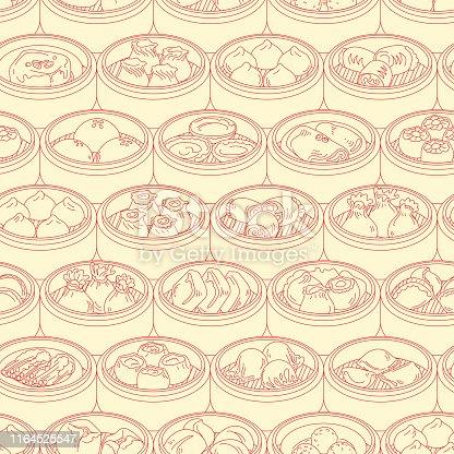 Dim Sum, Yang cha, steamer, Asian foods, background design, Seamless pattern, vector illustration. included Steamed dumpling. BBQ Pork Bun,Shrimp dumpling, Soup dumpling, meat ball