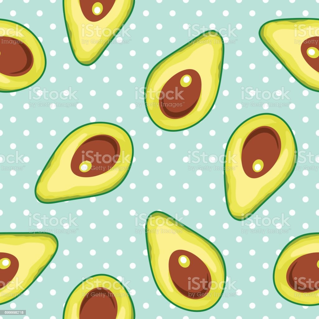 Seamless vector pattern with avocado on a polka dot background vector art illustration