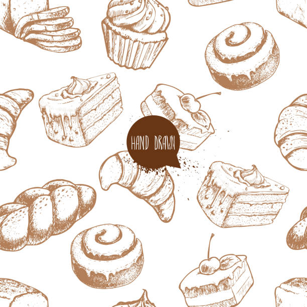 seamless vector pattern with bakery goods. bread, bun, iced cinnamon bun, cupcake, cake and croissant. - cinnamon roll stock illustrations, clip art, cartoons, & icons