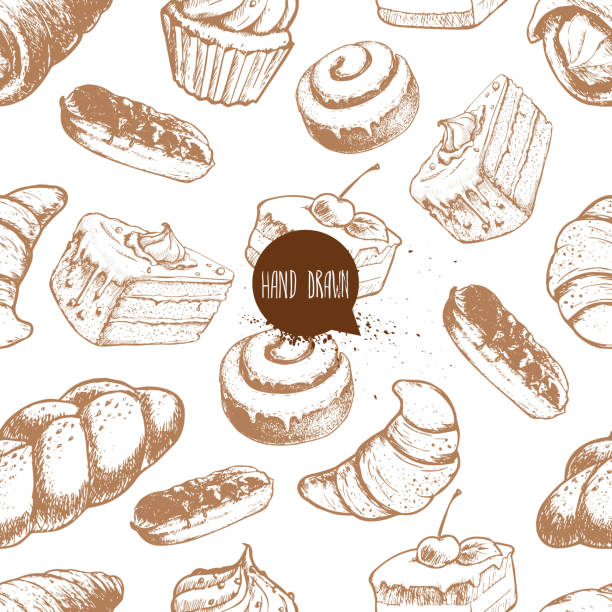 seamless vector pattern with bakery goods. cream roll, chocolate eclair, iced cinnamon bun, cupcake, cake and croissant. - cinnamon roll stock illustrations, clip art, cartoons, & icons