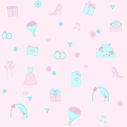 Seamless vector pattern with balloons, music notes, wedding cake, flower, wedding dress, fiancee's bouquet, decorated cake, gift box with bow, arch for ceremony, rings, diamonds, gems, calendar icon