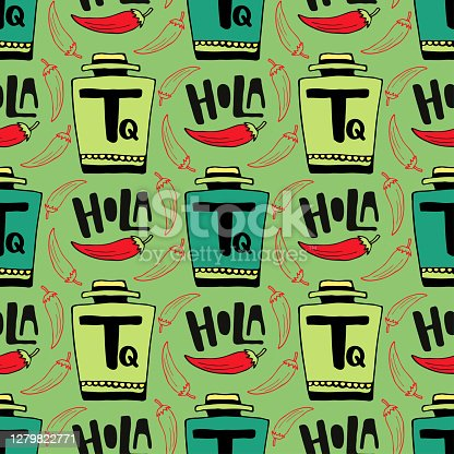 istock Seamless vector pattern with bottle of tequila and pepper on green background. Holla - hello in spanish . 1279822771