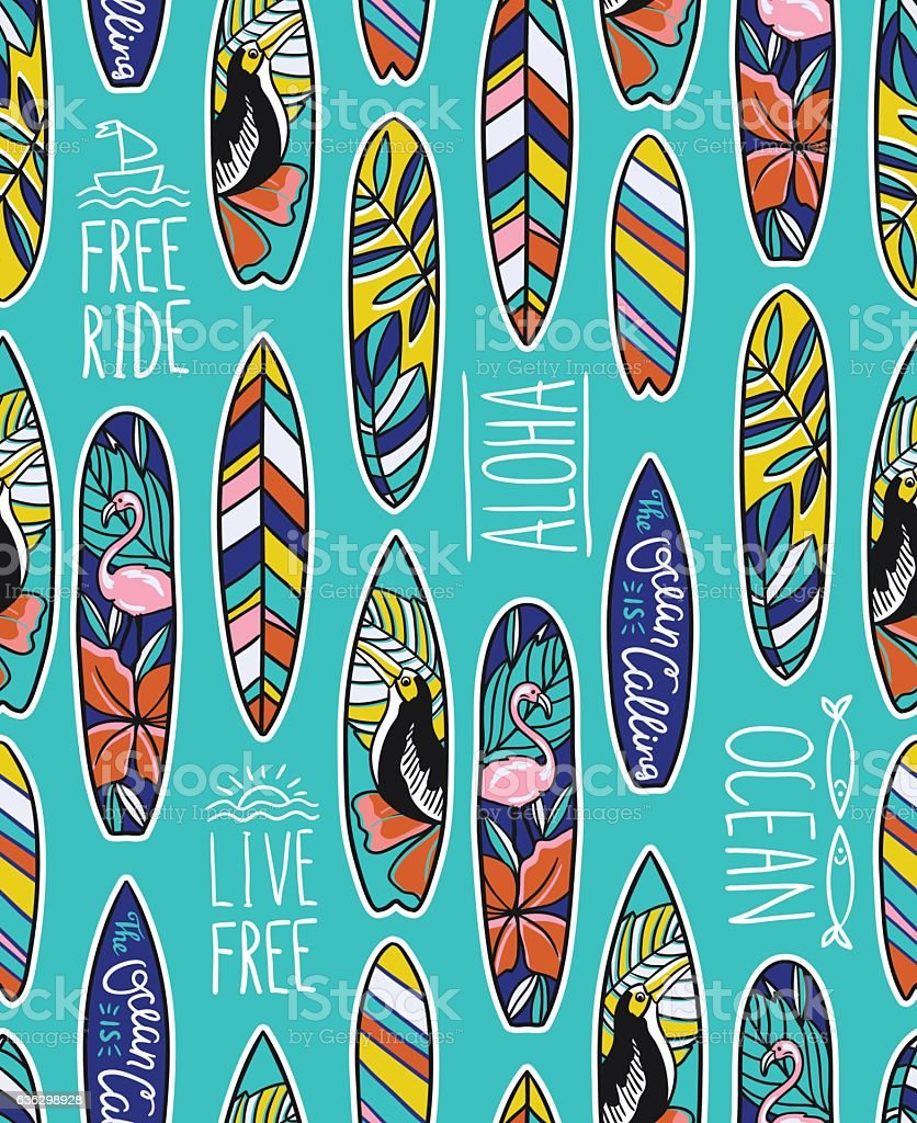 Seamless vector pattern with bright surfboards and stylish phrases.