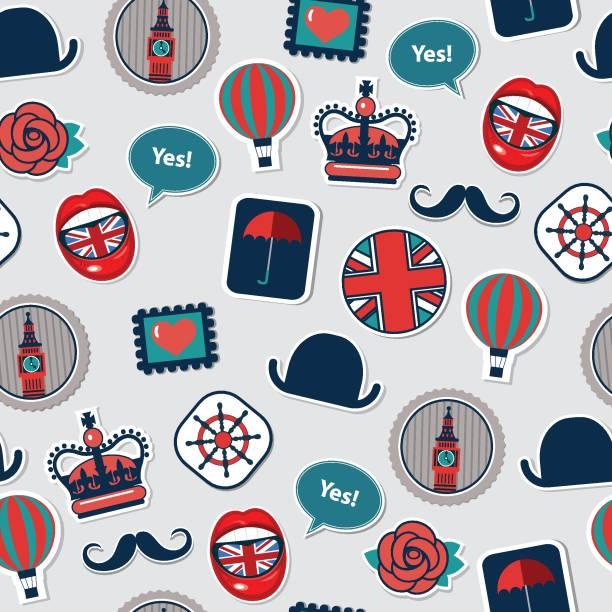ilustraciones, imágenes clip art, dibujos animados e iconos de stock de patrón transparente de vector con símbolos británicos - bandera británica