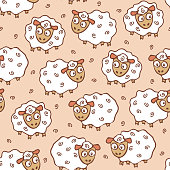 Repeat vector pattern with sheep on pink.