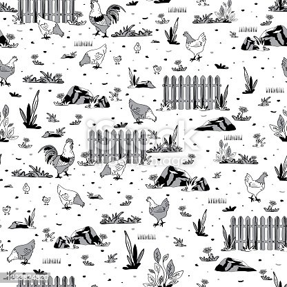 Repeat vector pattern with chickens and fence on white background.