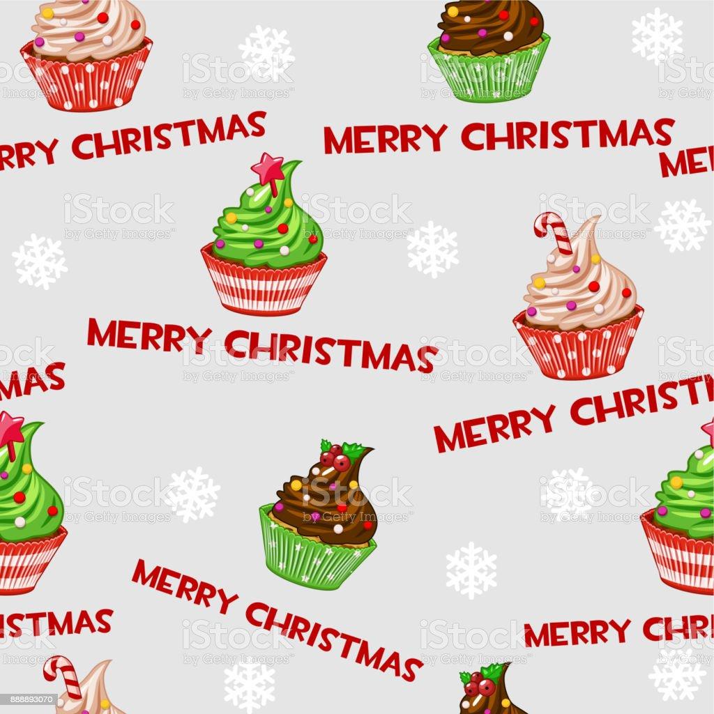 Nahtlose Vektormuster Mit Weihnachts Cupcakes Muffins Susse Kuchen