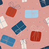 Seamless vector pattern with gifts. Seamless childish pattern for cards, wrapping papers, posters. Creative hand drawn pattern for holidays and parties