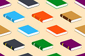 Seamless Vector Pattern with Closed Colorful Books