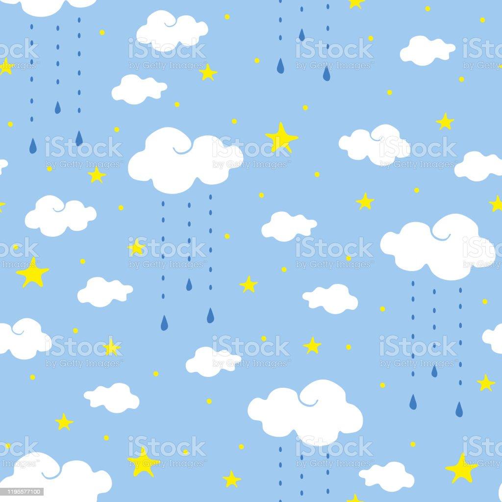 青い背景に雲と星を持つシームレスなベクトルパターン空とシンプルな