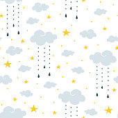 Repeat vector pattern with clouds and rain.