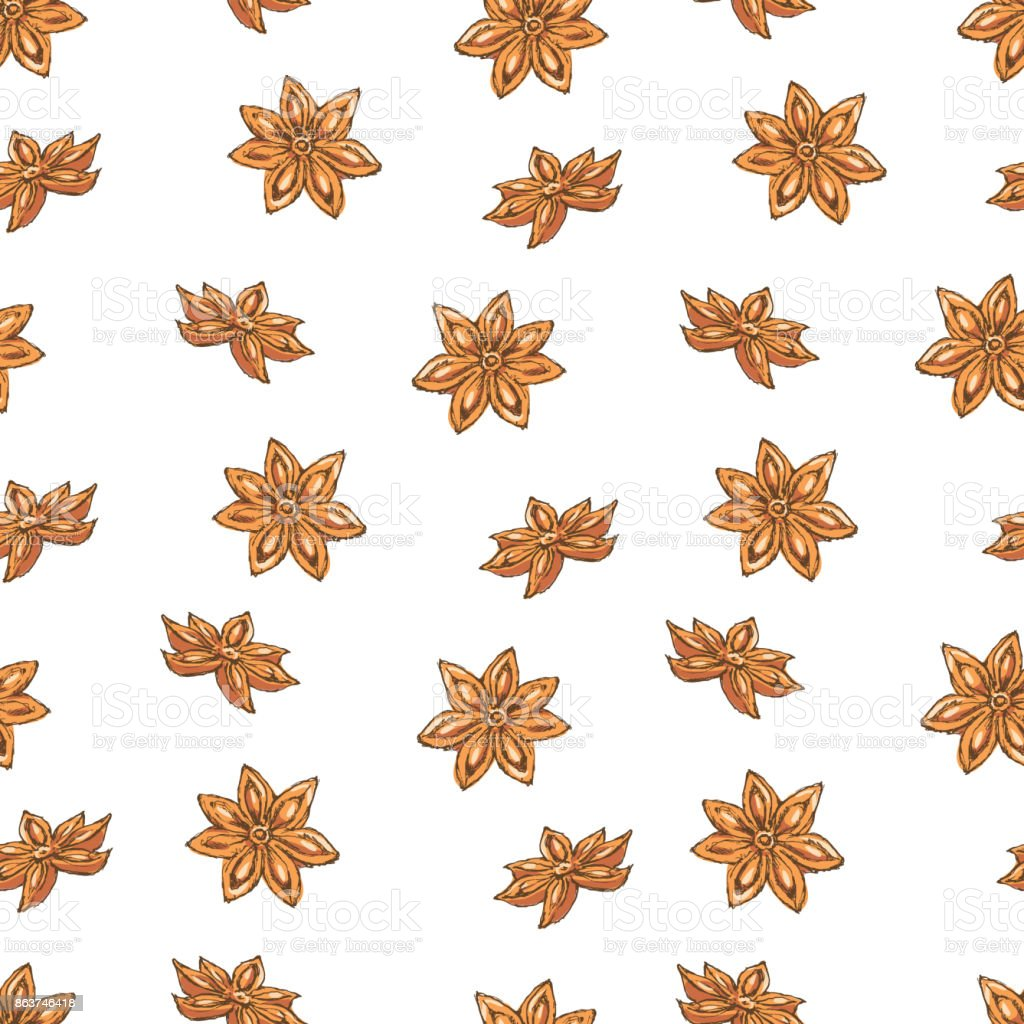 Seamless Vector Pattern with Clove and Star Anise on a Yellow Background. vector art illustration