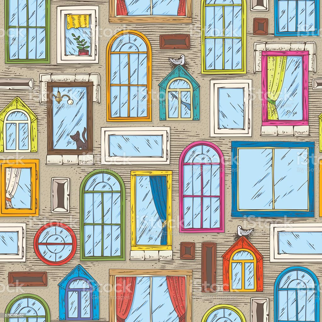 Seamless Vector Pattern with Color Windows vector art illustration