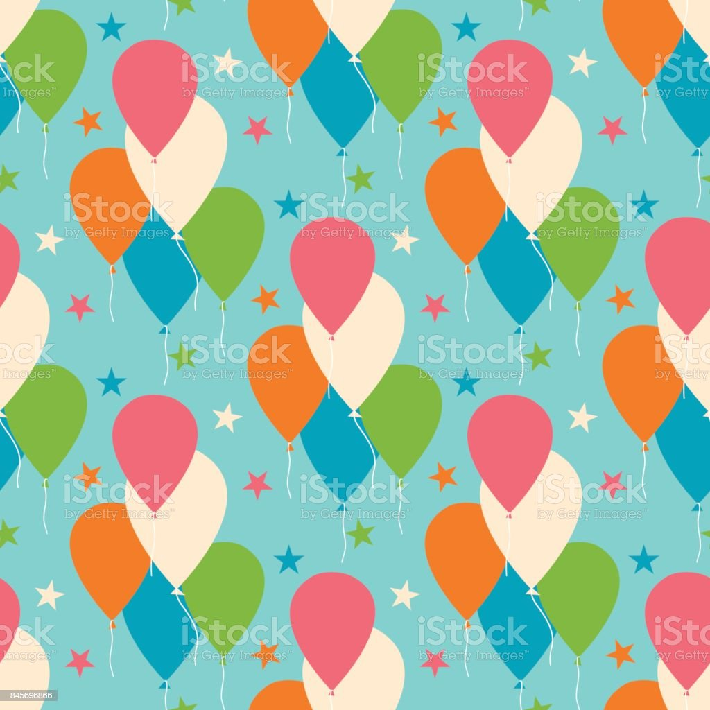 Seamless vector pattern with colorful balloons. vector art illustration