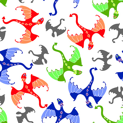 Seamless vector pattern with colorful dragons.