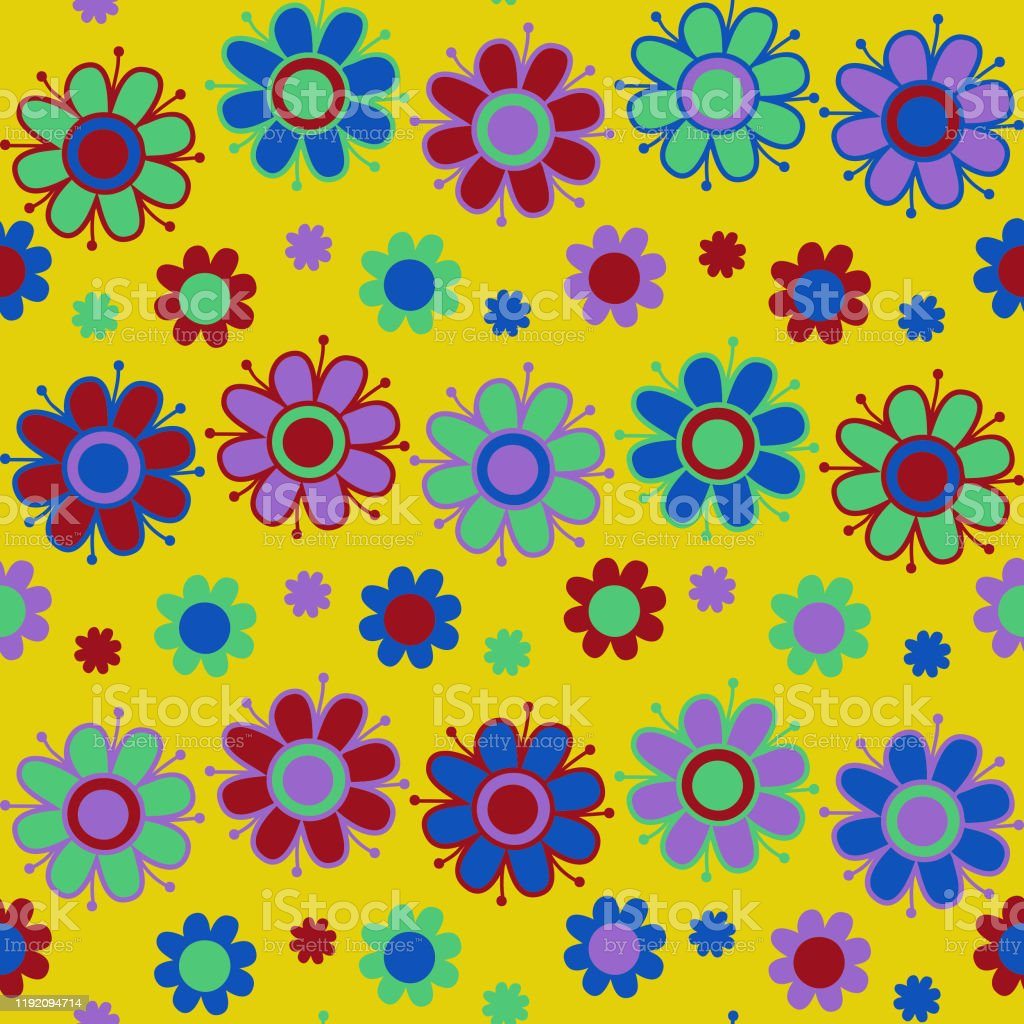 Seamless Vector Pattern With Colorful Flowers On Yellow Background