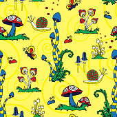istock Seamless vector pattern with colourful mushrooms on yellow background. Bright magic forest wallpaper design. Fantasy landscape fashion textile. 1264314615