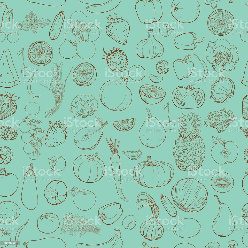 Seamless vector pattern with contour drawing of vegetables, fruits, berries vector art illustration