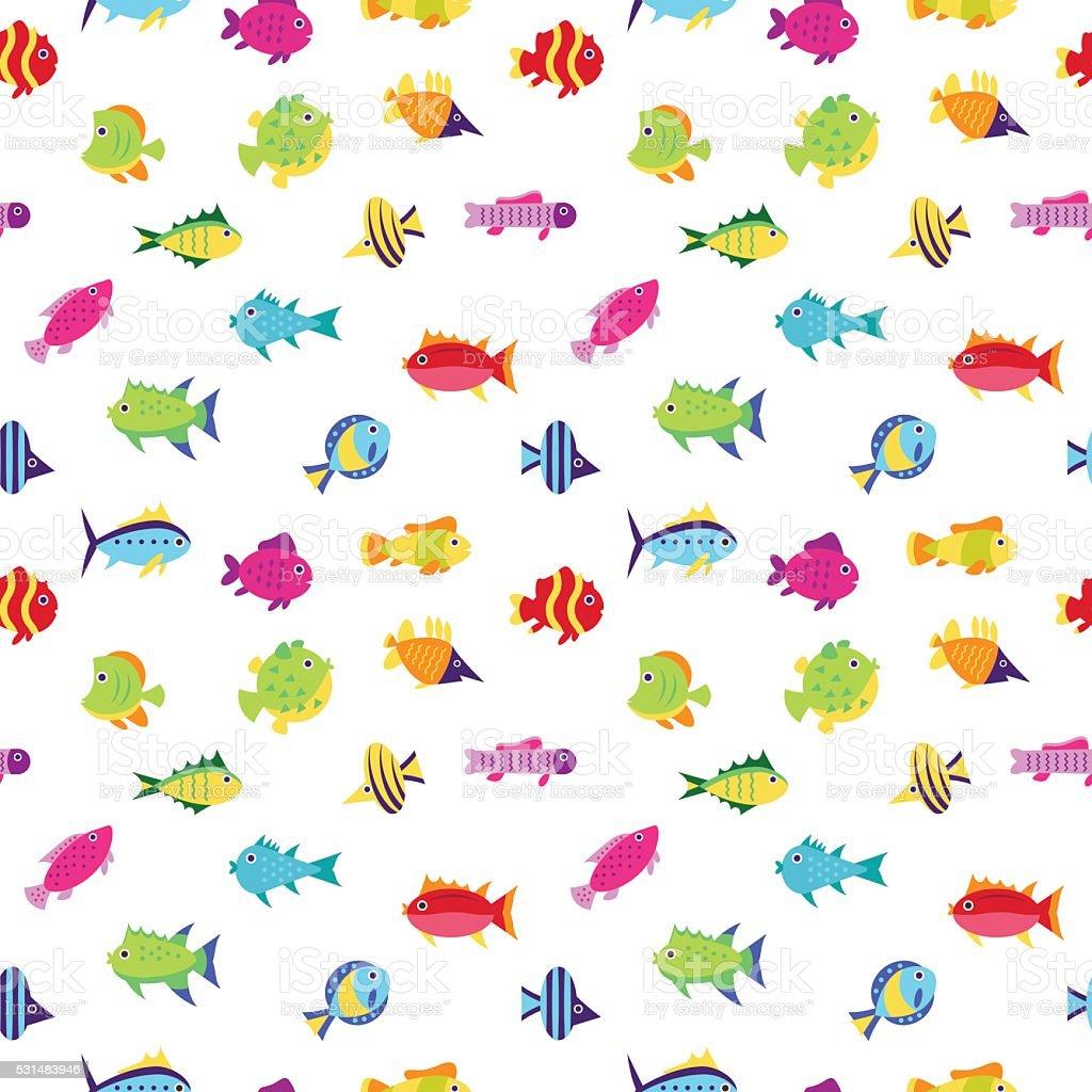 シームレスなベクターの模様かわいい漫画の魚 のイラスト素材