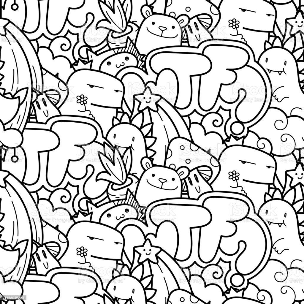 Sevimli Karikatur Canavarlar Ve Hayvanlar Ile Dikissiz Vektor