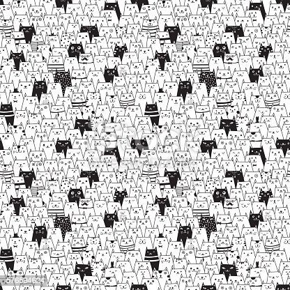 istock Seamless vector pattern with cute cats 576594624