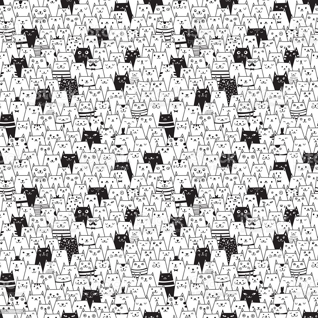 Seamless vector pattern with cute cats vector art illustration