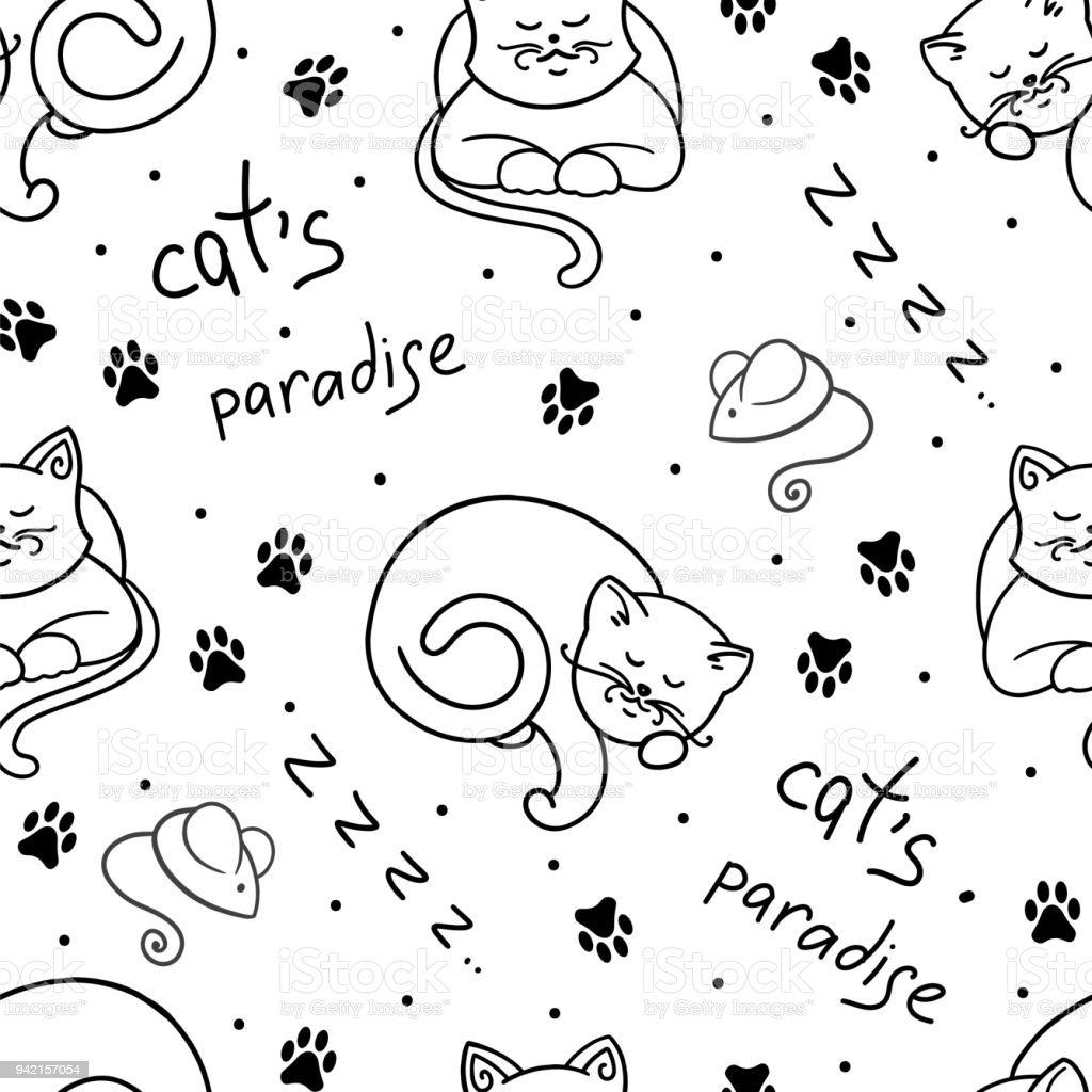 Ilustración de Patrón Sin Costuras Vector Con Los Gatos Monada y más ...