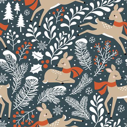 Seamless vector pattern with cute Christmas deer, pine trees, berries and snowflakes on dark grey background.