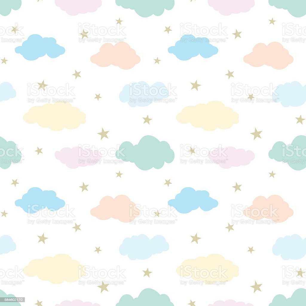 Seamless vector pattern with cute clouds and stars vector art illustration