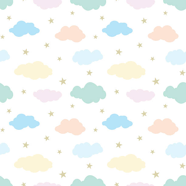 seamless vector pattern with cute clouds and stars - babyzimmer stock-grafiken, -clipart, -cartoons und -symbole