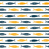 Seamless vector pattern with cute fishes. Striped pattern. For pattern fills, wallpaper, print for clothes, wrapping paper summer style.