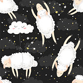 Seamless vector pattern with cute hand drawn cartoon sheeps, clouds and stars isolated on black background. Design for print, fabric, wallpaper, card, baby room decoration