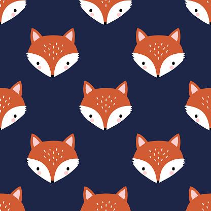 Seamless vector pattern with cute hand drawn fox head.